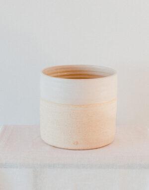 Palmy smaller ceramic planter - double cream
