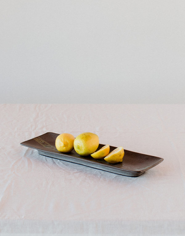 Palmy Rectangular Tray with Green Detail